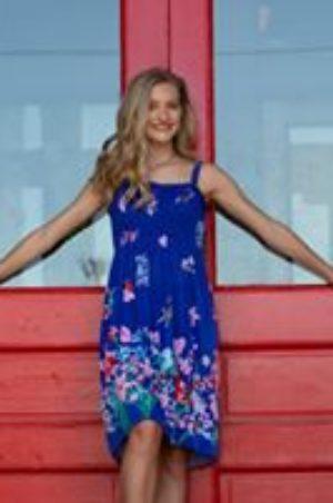 Sierra red door blue dress